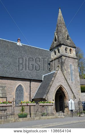 An exterior view of a small church in Dunblane