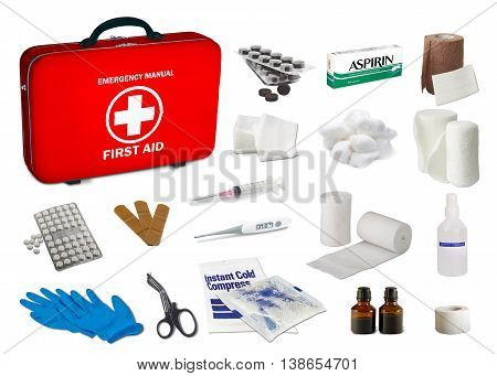 First aid kit box with medical equipment and medications for emergency objects top view