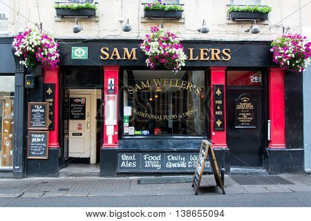 BATH SOMERSET UK - JULY 15 2016 Sam Weller's Public House. Pub on Upper Borough Walls in the UNESCO World Heritage City of Bath in Somerset England