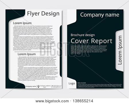 Vector flyer brochure design geometric template abstract. Black dark blue color.