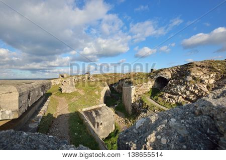 German submarine base fortifications at the cape of Pointe de Pen-hir Bretagne France
