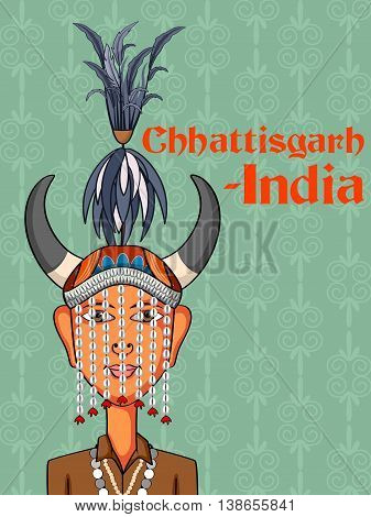 Vector design of Chhattisgarh Man in traditional costume of Chhattisgarh, India