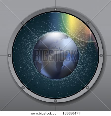View from rocket or ship porthole on planet earth in space over a background with glowing stars. Digital vector image