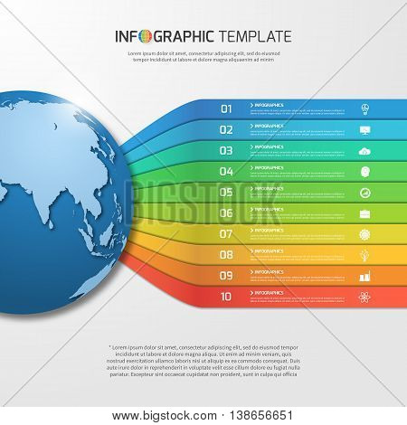Infographic Template With Globe With 10 Options, Parts, Steps, Processes For Graphs, Charts, Diagram