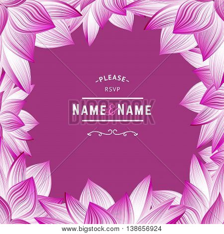 RSVP Wedding Invitation with Flowers. Pink vector Greeting Card with Floral Frame. Lotus Flower Borders.