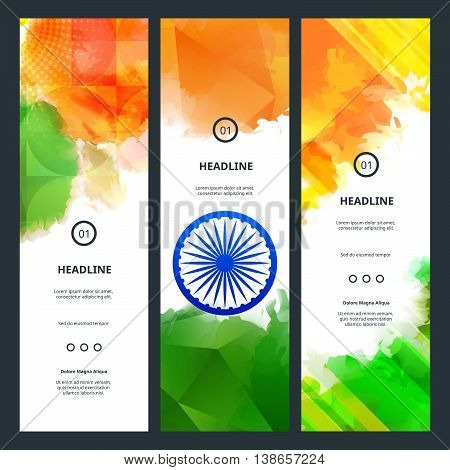 Vertical Web Banners Concept on Indian Independence Day. Vector Holiday Backgrounds with Ashoka Wheel and Colorful Splashes in Green, White and Orange Colors.