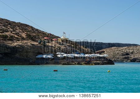 the Blue Lagoon gets its name from the beautiful colors of the sea and is situated at the island of Comino part of Malta