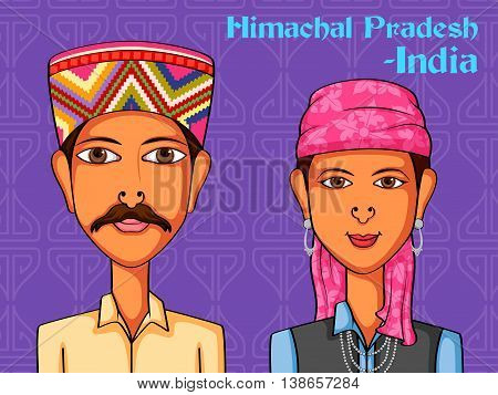 Vector design of Himachal Couple in traditional costume of Himachal Pradesh, India