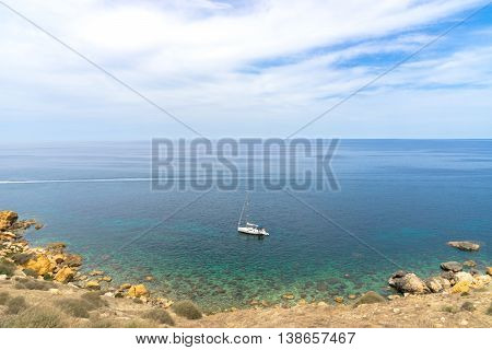 the Mediterranean Sea seen from the shores of Gozo part of Malta
