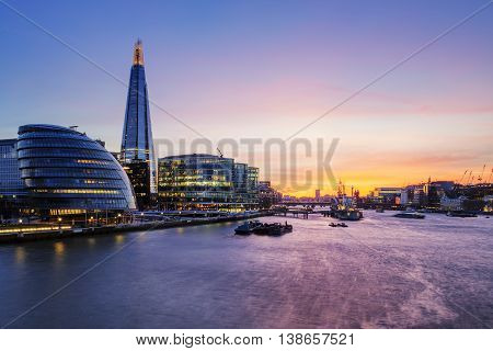 View of London city at sunset, Great Britain.