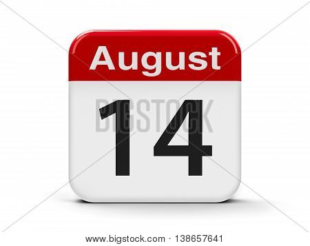 Calendar web button - The Fourteenth of August three-dimensional rendering 3D illustration