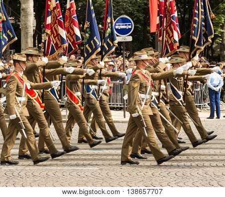 Paris France-July 14 2016 : The soldiers of Australian Army participate in Bastille Day military parade on Champs Elysees avenue on the occasion of the centennial anniversary of the Battle of Somme.