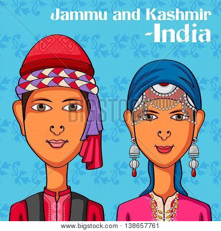 Vector design of Kashmiri Couple in traditional costume of Jammu and Kashmir, India