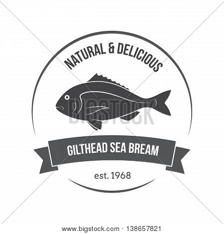 Vector Gilthead Sea Bream, Sparus Aurata, Dorado Emblem, Label. Template For Stores, Markets, Food P