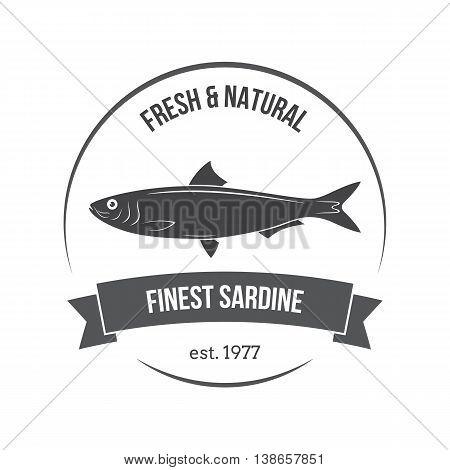 Vector Sardine Emblem, Label. Template For Stores, Markets, Food Packaging. Seafood Illustration.