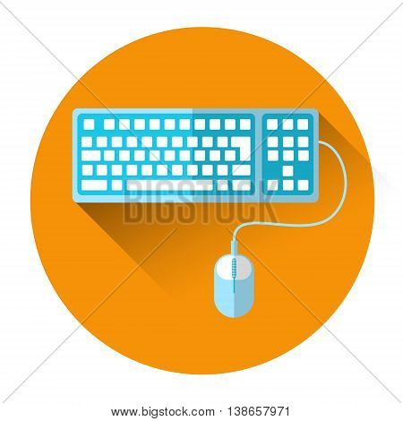 Computer Keyboard Mouse Colorful Icon Flat Vector Illustration