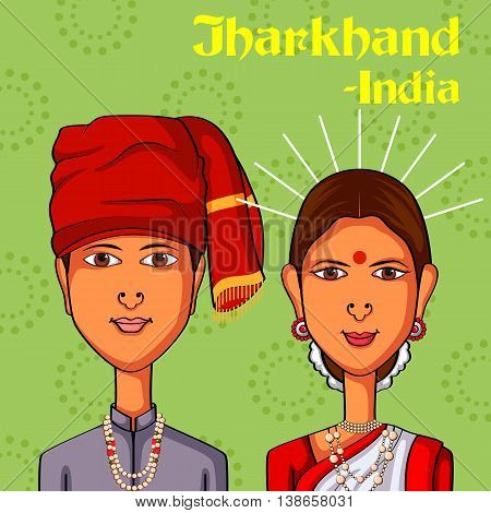 Vector design of Jharkhand Couple in traditional costume of Jharkhand, India