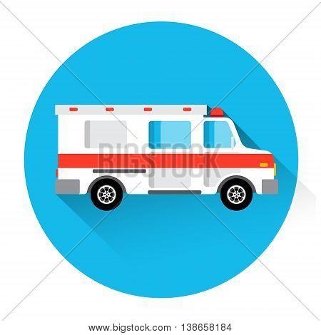 Ambulance Medical Car First Aid Icon Flat Vector Illustration