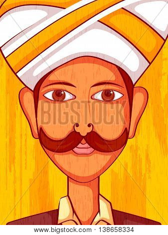 Vector design of Karnatakani Man in traditional costume of Karnataka, India