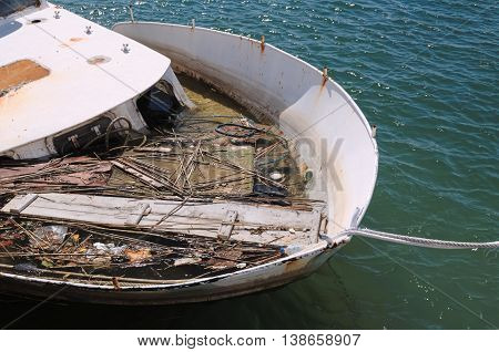 Sunken Ship At Harbor Closeup