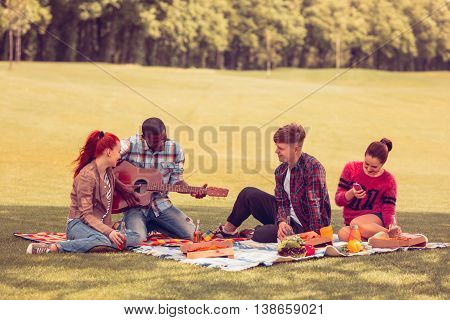 Picture of best friends spending free time on picnic. Two men and two women communicating or talking and listening to guitar. Picnic concept.