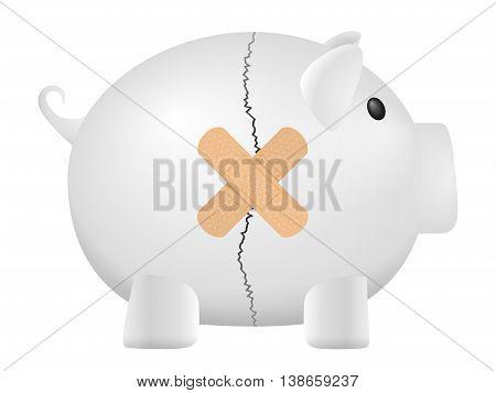 Broken piggy bank on a white background.