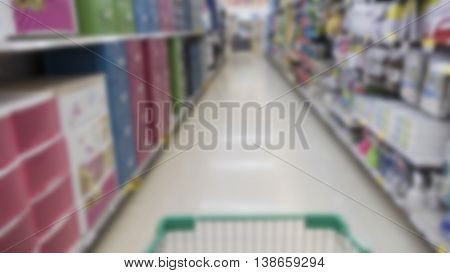 Cart, Aisle And Product Selling In Supermarket - Blur For Use As Background
