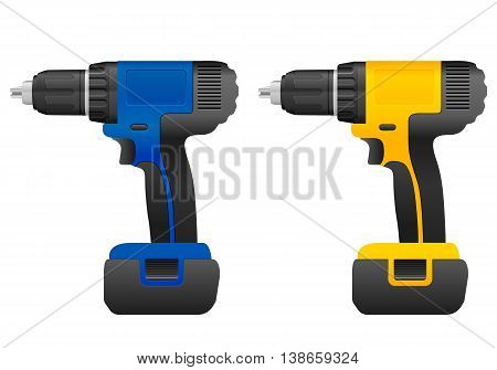 Electric drill set on a white background.