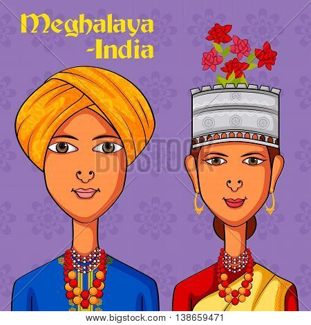 Vector design of Meghalayan Couple in traditional costume of Meghalaya, India
