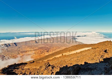 View from El Teide volcano, Tenerife, Canary Island, Spain