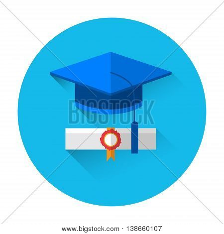 Graduation Cap With Diploma Scroll Colorful Icon Flat Vector Illustration