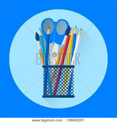 Pen Holder Office Equipment Colorful Icon Flat Vector Illustration