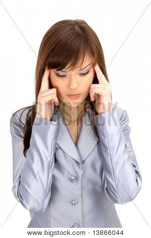 yuong woman holding head in pain over white background