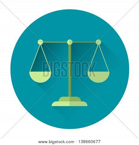 Balance Scale Colorful Icon Flat Vector Illustration