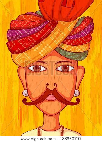 Vector design of Rajasthani Man in traditional costume of Rajasthan, India