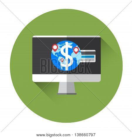 Computer Desktop With GPS Globe Navigation System Colorful Icon Flat Vector Illustration