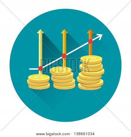 Coins With Arrow Up Financial Wealth Growth Concept Icon Flat Vector Illustration