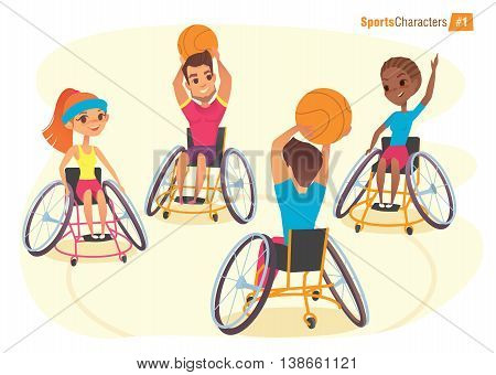 Handisport characters. Boys and girls in wheelchairs playing baysball Handicap First-person view. Medical rehabilitation Illustration.