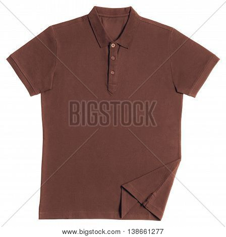Brown polo shirt isolated on white background