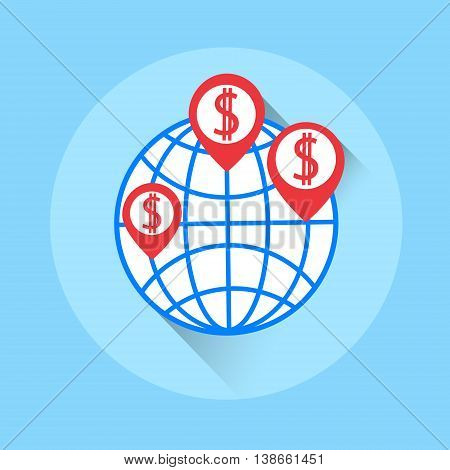World Crowdfunding Money Colorful Icon Flat Vector Illustration