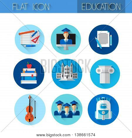 Education Collection Colorful Icon Set Flat Vector Illustration