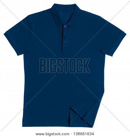 Blue polo shirt isolated on white background