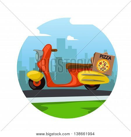 illustration of red scooter with pizza box and city behind