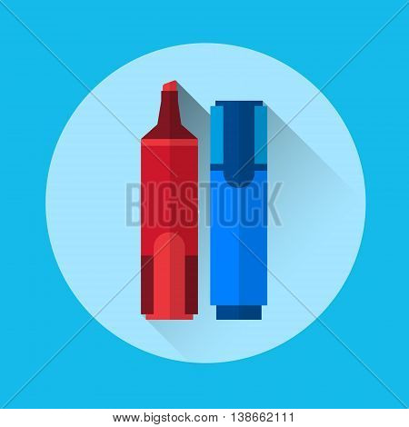 Marker Pen Highlighter Colorful Icon Flat Vector Illustration