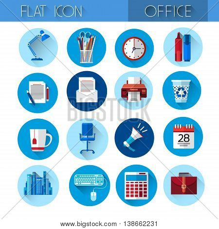 Colorful Office Set Icon Collection Flat Vector Illustration