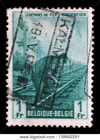 ZAGREB, CROATIA - JULY 03:  stamp printed in Belgium shows Railway Worker from The Railway Company at Work issue, circa 1945, on July 03, 2014, Zagreb, Croatia
