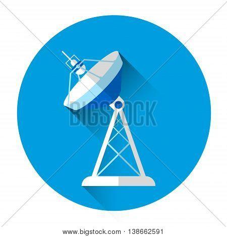 Satellite Antenna Colorful Icon Flat Vector Illustration