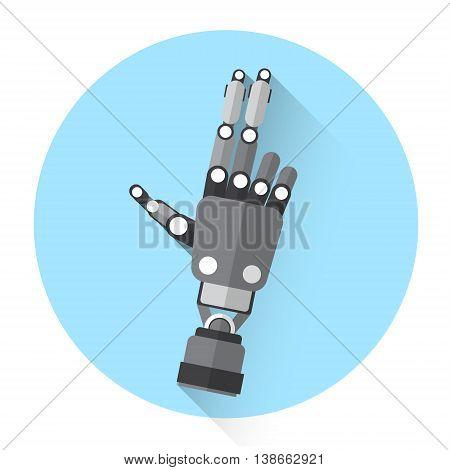 Modern Robot Hand Shooting Finger Gesture Icon Flat Vector Illustration