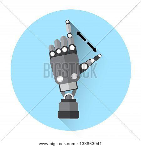 Modern Robot Hand Finger Touch Screen Icon Flat Vector Illustration
