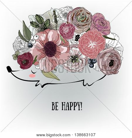 cute hedgehog with beautiful flowers. vector illustration